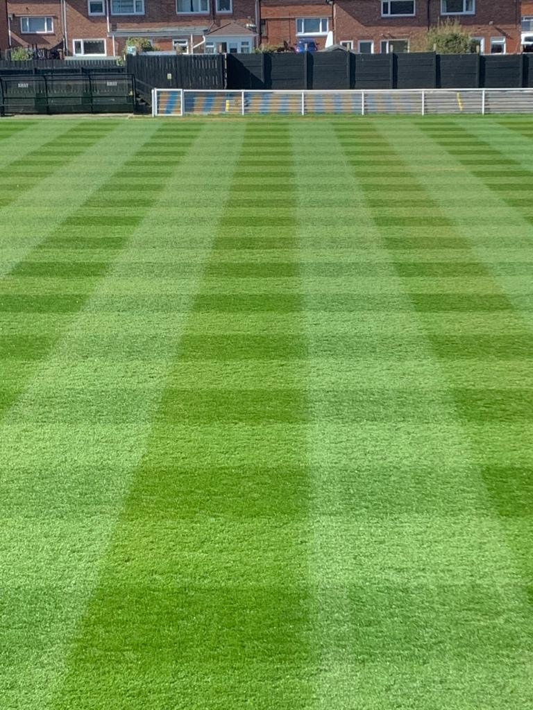 A checkered pattern on a football pitch